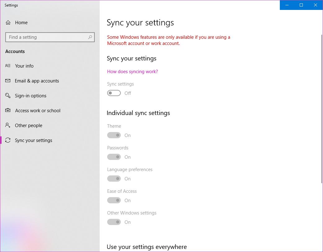 windows 10 sync settings