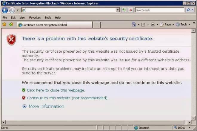 How to Fix Certificate errors in Internet Explorer