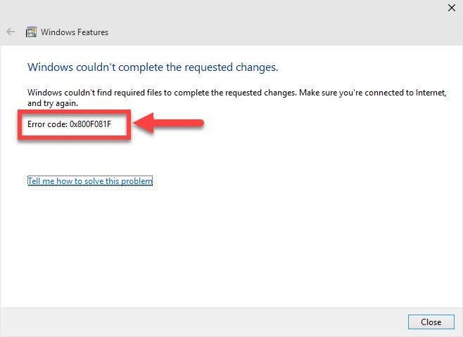 fix Error Code 0x800F081F