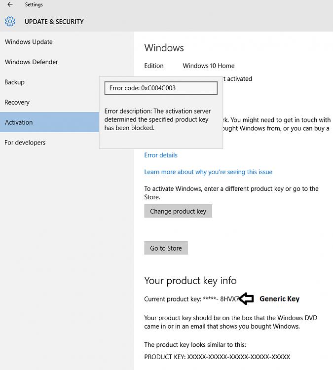 Error code 0xc004c003 in Windows 10