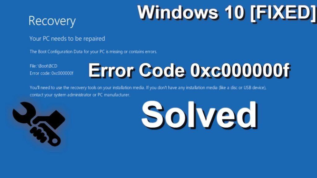 Fix Error code 0xc00000f