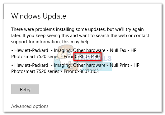 0x80070490 in Windows 10